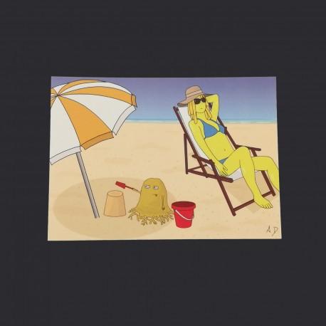 Postal card - Bobby at the beach